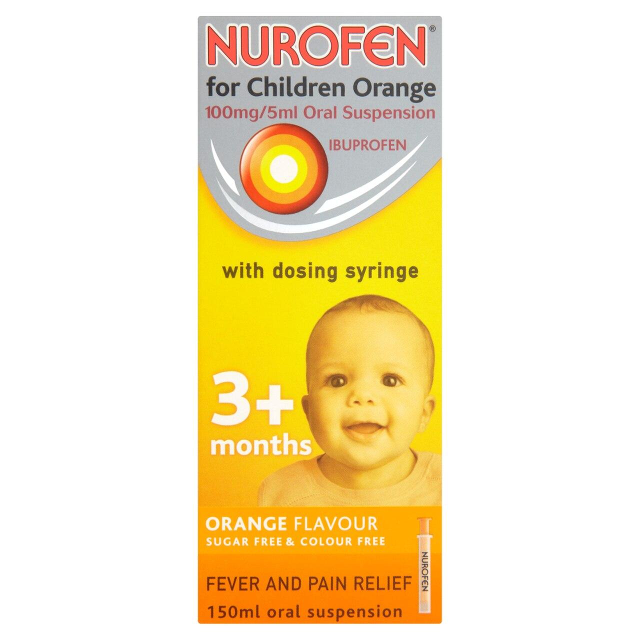NUROFEN FOR CHILDREN 100MG 5ML ORANGE 150ML