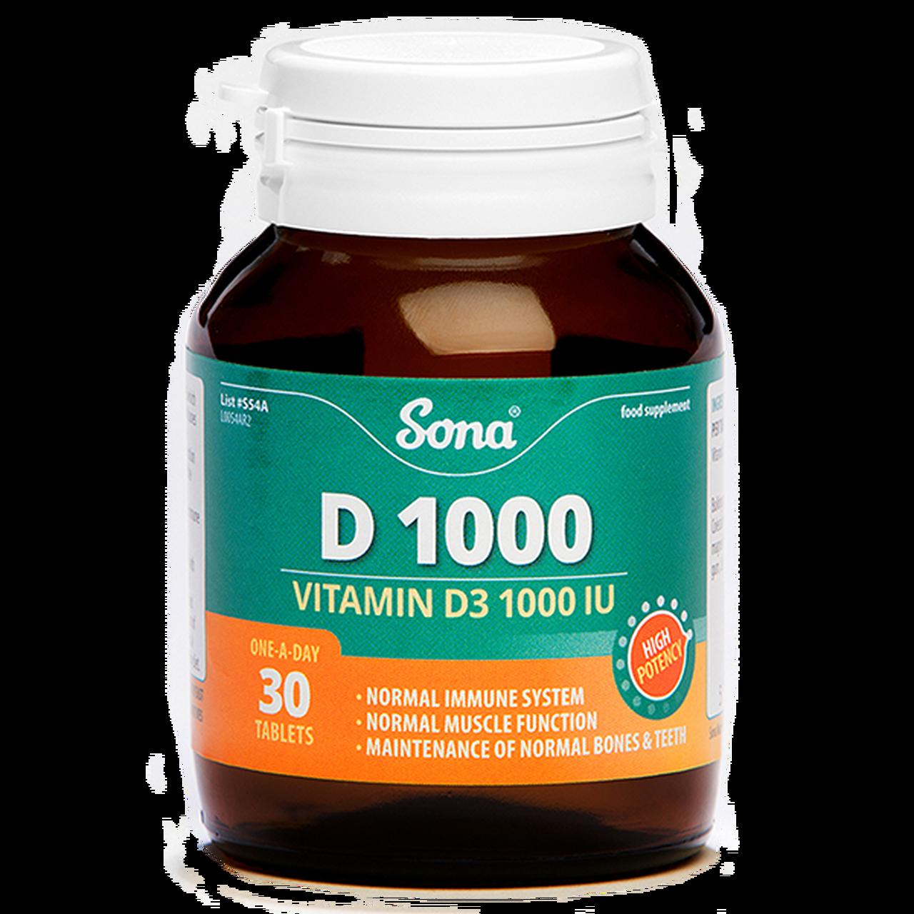 SONA D1000 VITAMIN D3 1000IU TABS (30's)
